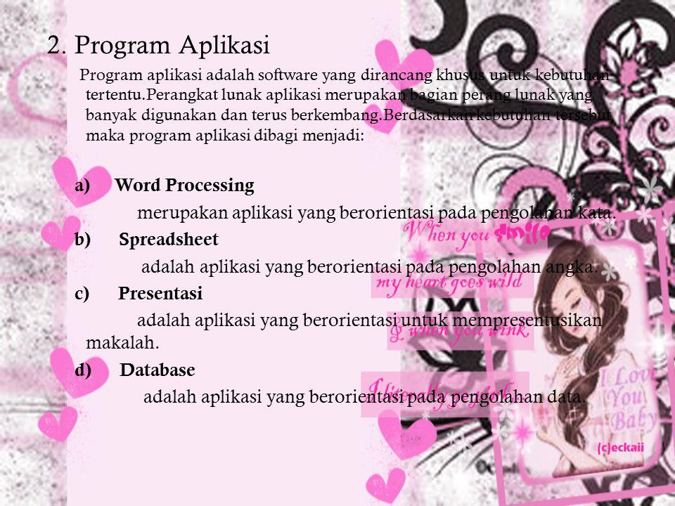 2. Program Aplikasi Program aplikasi adalah software yang dirancang khusus untuk kebutuhan tertentu.Perangkat lunak aplikasi merupakan bagian perang l