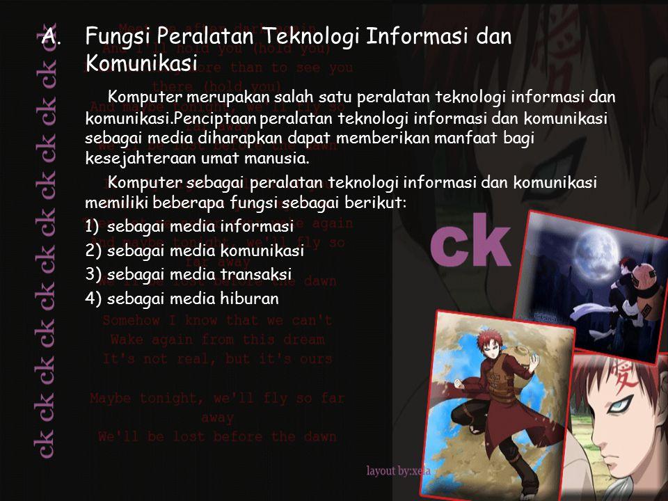A.Fungsi Peralatan Teknologi Informasi dan Komunikasi Komputer merupakan salah satu peralatan teknologi informasi dan komunikasi.Penciptaan peralatan