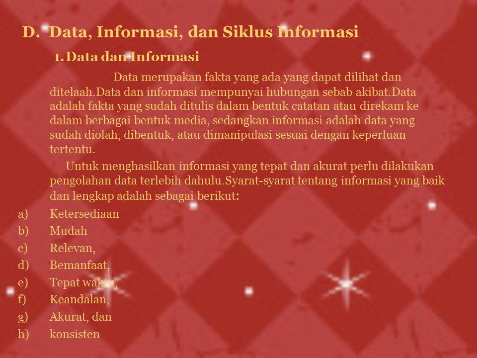 D. Data, Informasi, dan Siklus Informasi 1.Data dan Informasi Data merupakan fakta yang ada yang dapat dilihat dan ditelaah.Data dan informasi mempuny