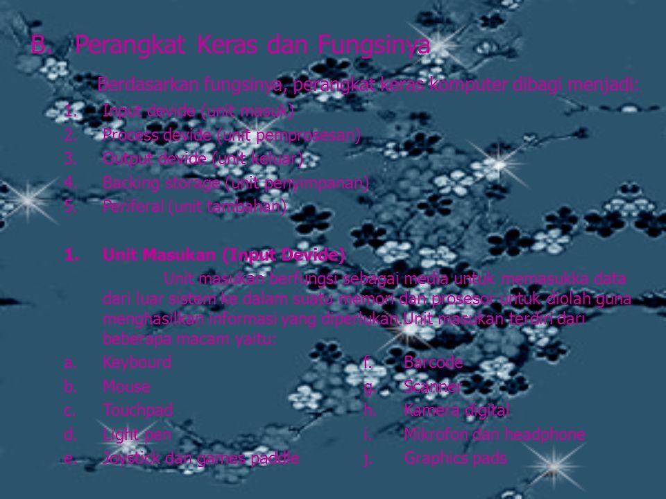 B.Perangkat Keras dan Fungsinya Berdasarkan fungsinya, perangkat keras komputer dibagi menjadi: 1.Input devide (unit masuk) 2.Process devide (unit pem