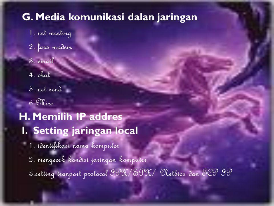 G. Media komunikasi dalan jaringan 1. net meeting 2. faxs modem 3. email 4. chat 5. net send 6 Mirc H. Memilih IP addres I. Setting jaringan local 1.