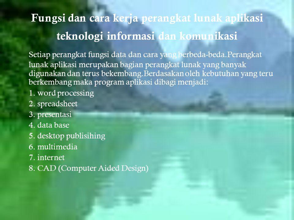 Fungsi dan cara kerja perangkat lunak aplikasi teknologi informasi dan komunikasi Setiap perangkat fungsi data dan cara yang berbeda-beda.Perangkat lu