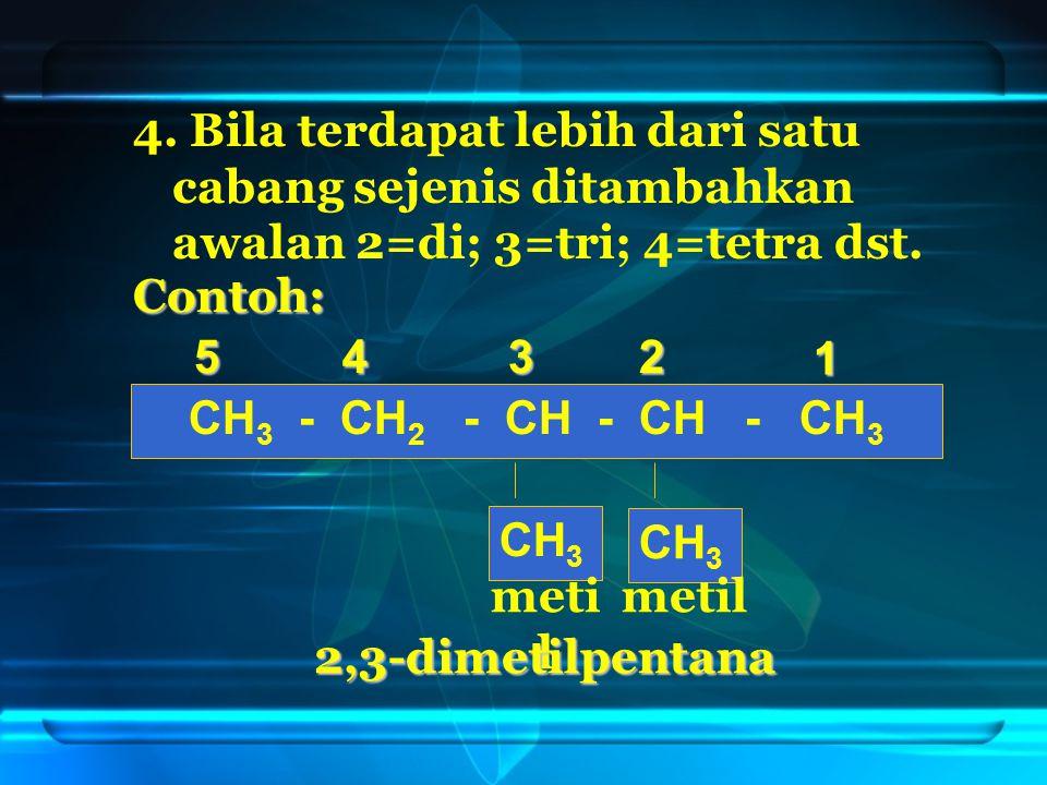 4.Bila terdapat lebih dari satu cabang sejenis ditambahkan awalan 2=di; 3=tri; 4=tetra dst.