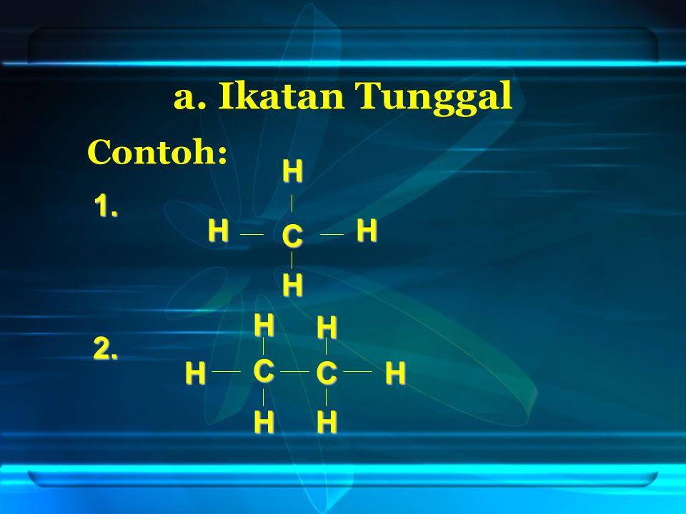 a. Ikatan Tunggal Contoh: 1. 2. C H HH H C C H H HH HH
