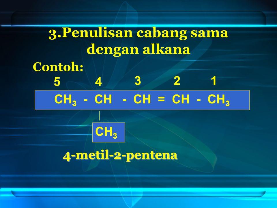 3.Penulisan cabang sama dengan alkana CH 3 - CH - CH = CH - CH 3 CH 3 123 45 4-metil-2-pentena Contoh: