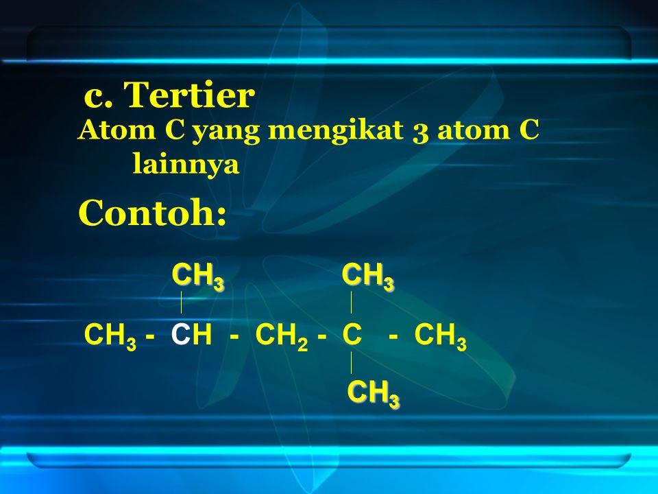 d. Kuarterner Atom C yang mengikat 4 atom C lainnya Contoh: CH 3 - CH - CH 2 - C - CH 3 CH 3