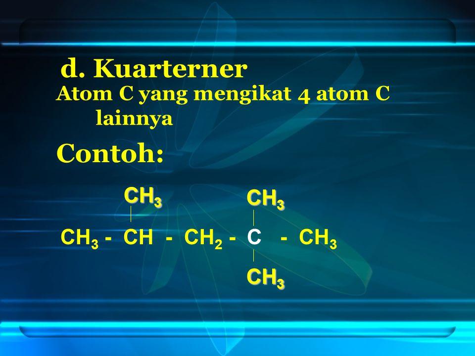 2.Penomoran dimulai dari salah satu ujung sehingga ikatan rangkap mendapat nomor terkecil CH 3 - CH - CH = CH - CH 3 CH 3 12345