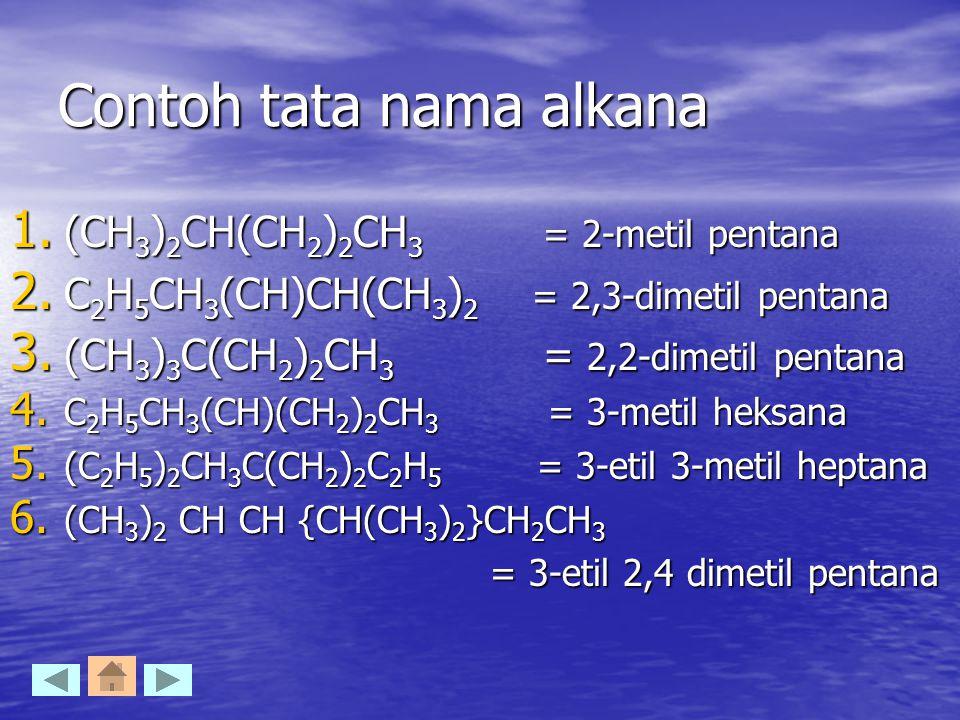 Contoh tata nama alkana 1. (CH 3 ) 2 CH(CH 2 ) 2 CH 3 = 2-metil pentana 2. C 2 H 5 CH 3 (CH)CH(CH 3 ) 2 = 2,3-dimetil pentana 3. (CH 3 ) 3 C(CH 2 ) 2