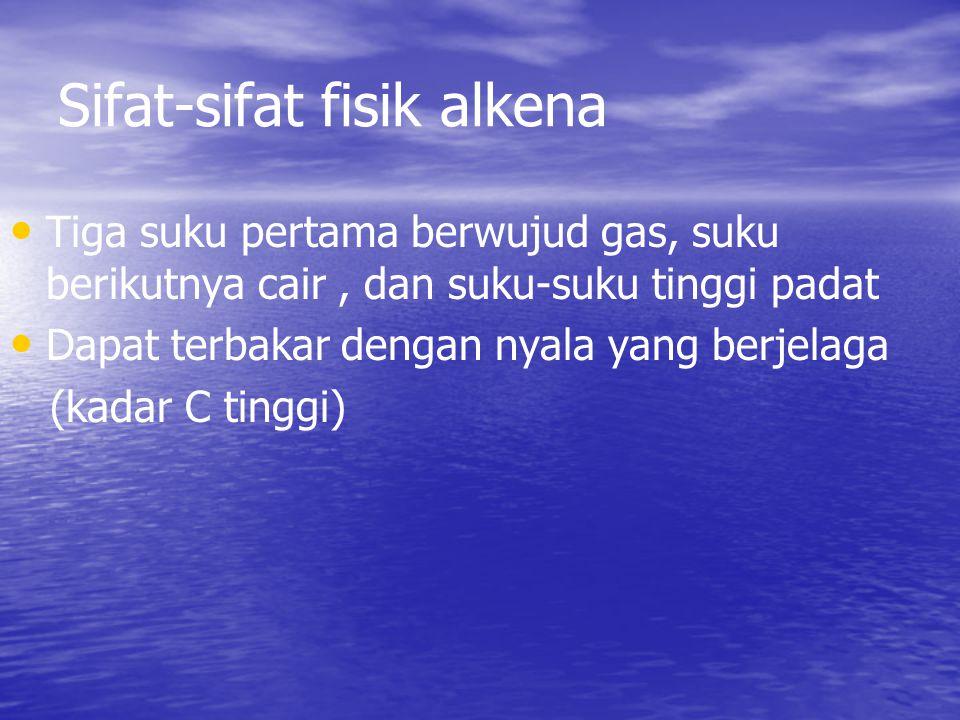 Sifat-sifat fisik alkena Tiga suku pertama berwujud gas, suku berikutnya cair, dan suku-suku tinggi padat Dapat terbakar dengan nyala yang berjelaga (