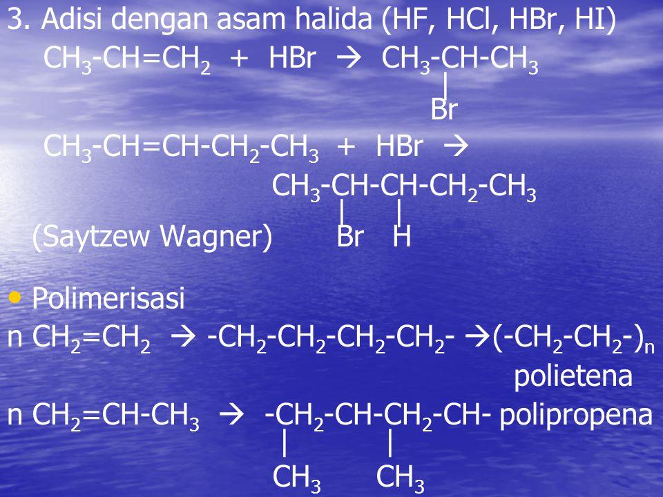 3. Adisi dengan asam halida (HF, HCl, HBr, HI) CH 3 -CH=CH 2 + HBr  CH 3 -CH-CH 3 | Br CH 3 -CH=CH-CH 2 -CH 3 + HBr  CH 3 -CH-CH-CH 2 -CH 3 | | (Say