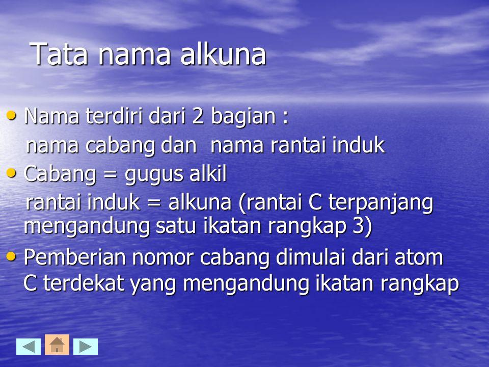 Tata nama alkuna Nama terdiri dari 2 bagian : Nama terdiri dari 2 bagian : nama cabang dan nama rantai induk nama cabang dan nama rantai induk Cabang