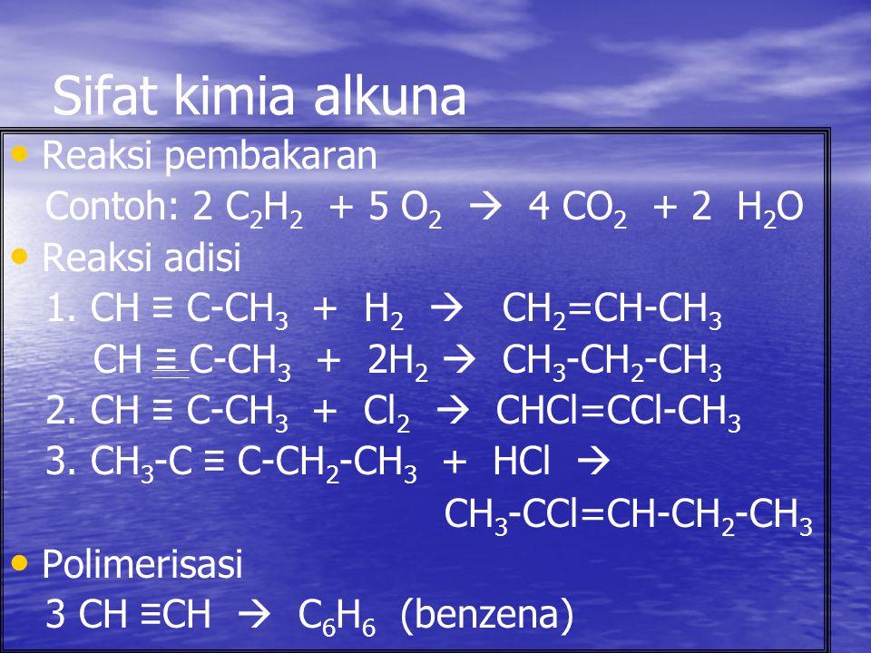 Sifat kimia alkuna Reaksi pembakaran Contoh: 2 C 2 H 2 + 5 O 2  4 CO 2 + 2 H 2 O Reaksi adisi 1. CH ≡ C-CH 3 + H 2  CH 2 =CH-CH 3 CH ≡ C-CH 3 + 2H 2