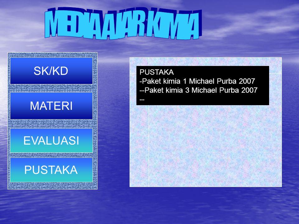 PUSTAKA -Paket kimia 1 Michael Purba 2007 --Paket kimia 3 Michael Purba 2007- SK/KD EVALUASI PUSTAKA MATERI