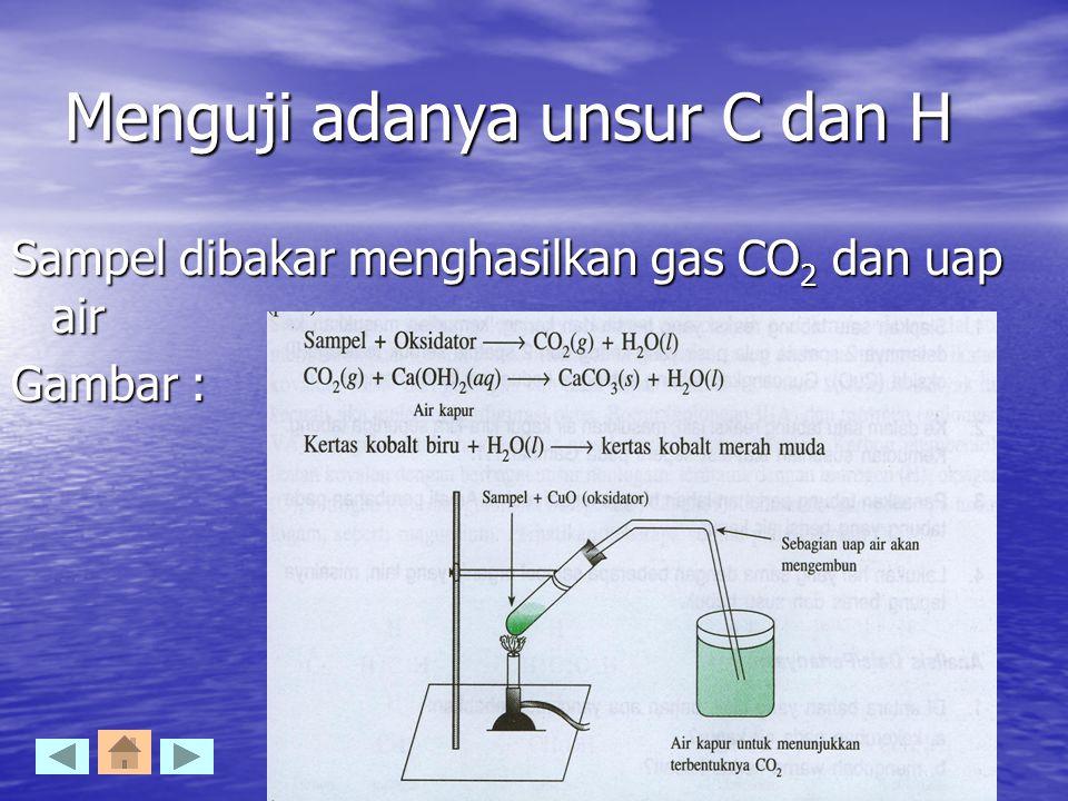 Menguji adanya unsur C dan H Sampel dibakar menghasilkan gas CO 2 dan uap air Gambar :