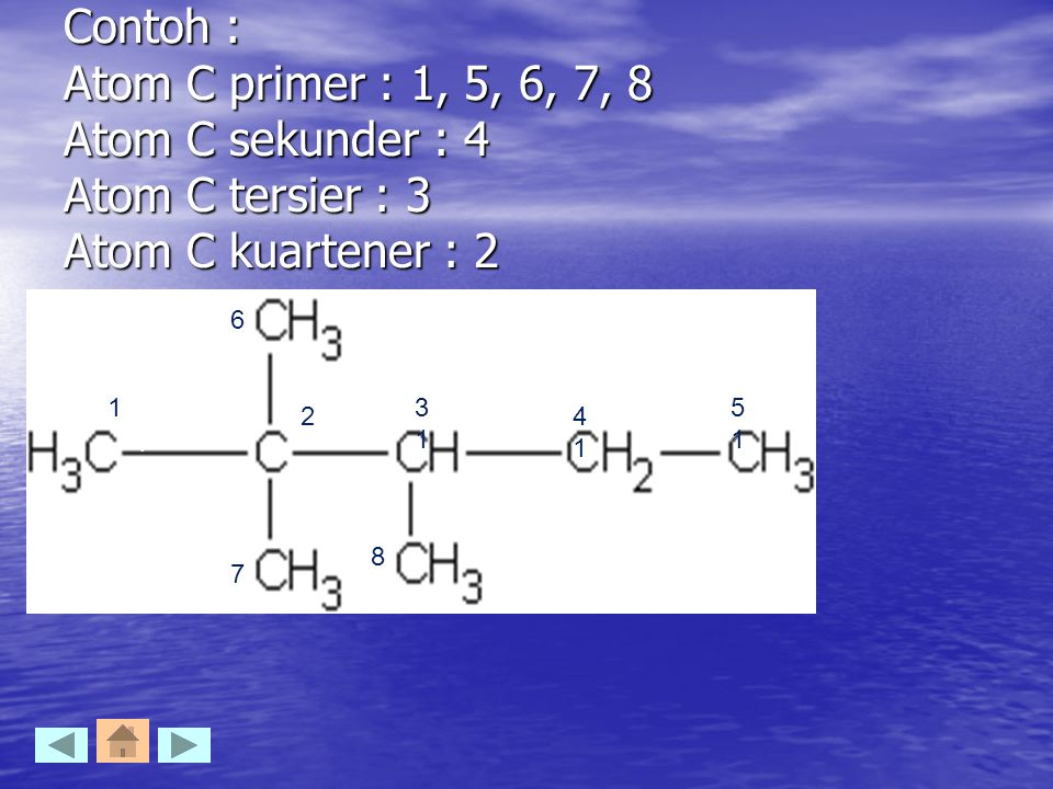 Contoh : Atom C primer : 1, 5, 6, 7, 8 Atom C sekunder : 4 Atom C tersier : 3 Atom C kuartener : 2 1 1 2 3131 4141 5151 6 7 8