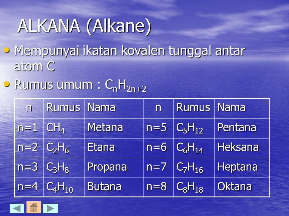 ALKANA (Alkane) Mempunyai ikatan kovalen tunggal antar atom C Mempunyai ikatan kovalen tunggal antar atom C Rumus umum : C n H 2n+2 Rumus umum : C n H