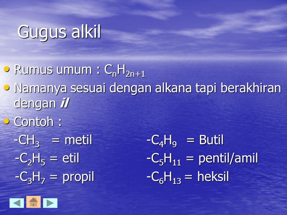 Gugus alkil Rumus umum : C n H 2n+1 Rumus umum : C n H 2n+1 Namanya sesuai dengan alkana tapi berakhiran dengan il Namanya sesuai dengan alkana tapi b