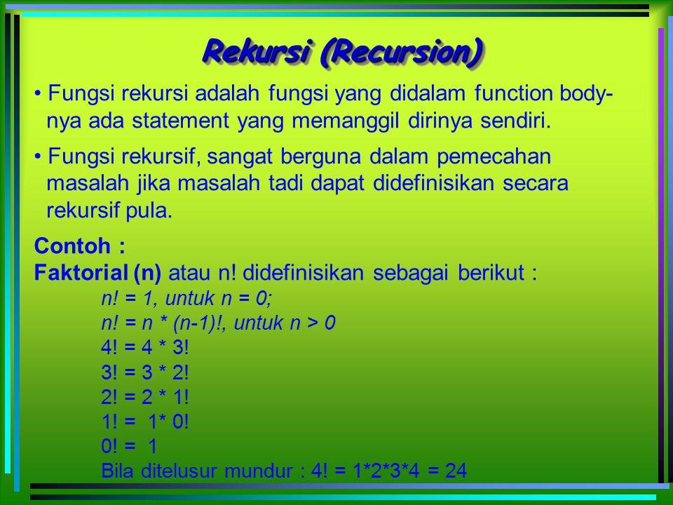 Rekursi (Recursion) Fungsi rekursi adalah fungsi yang didalam function body- nya ada statement yang memanggil dirinya sendiri. Fungsi rekursif, sangat