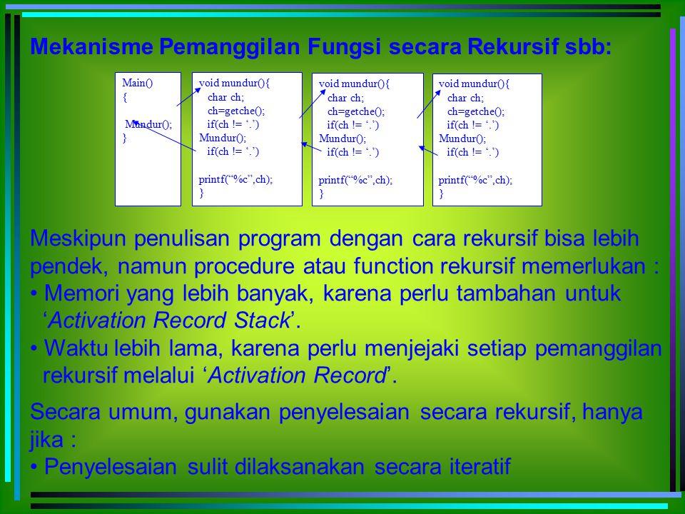 Efisiensi dengan cara rekursif sudah memadai Efisiensi bukan masalah dibandingkan dengan kejelasan logika program Pemborosan (Redundancy) dapat terjadi dalam penyele- saian masalah secara rekursif.
