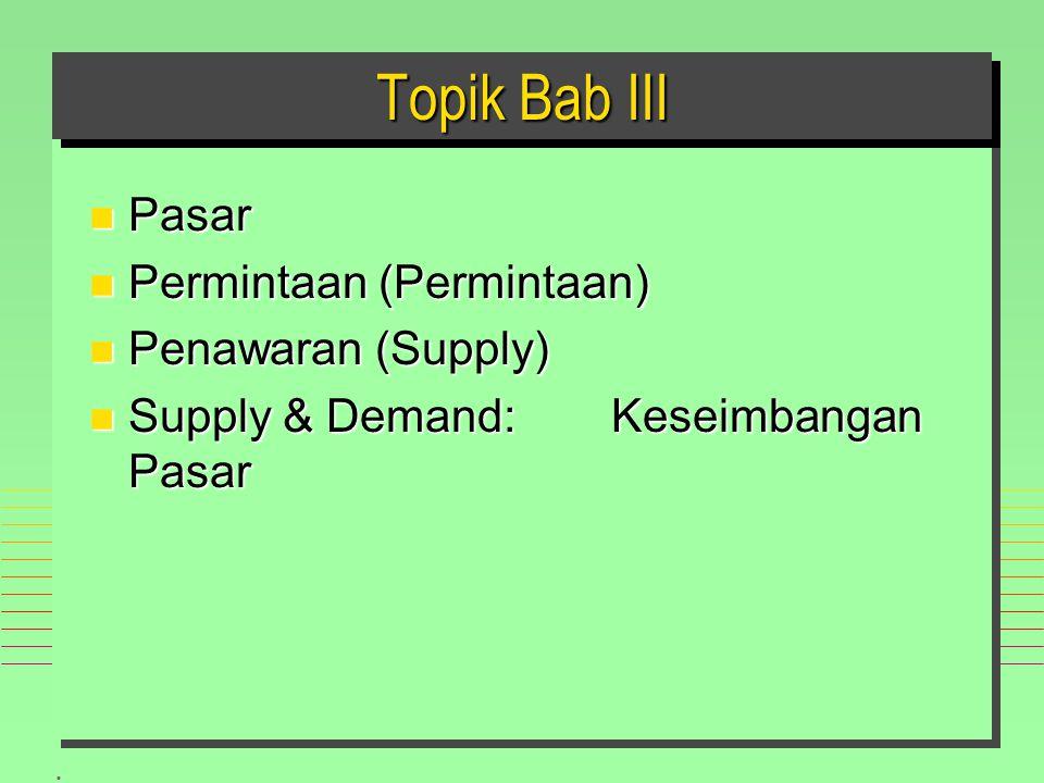 . Topik Bab III n Pasar n Permintaan (Permintaan) n Penawaran (Supply) n Supply & Demand: Keseimbangan Pasar