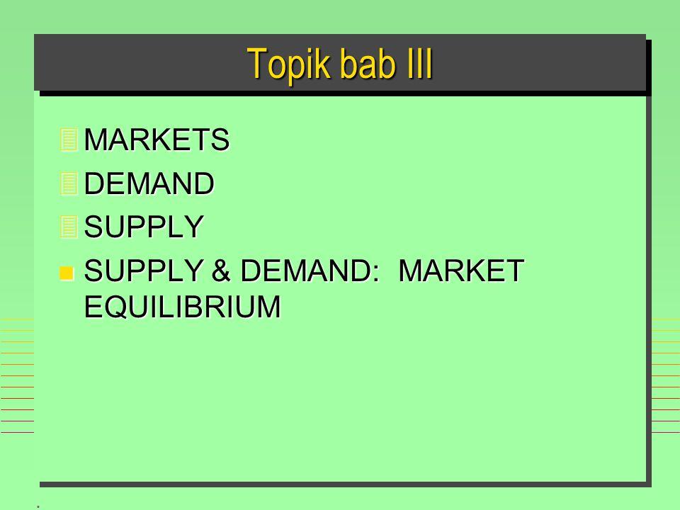 . Topik bab III 3MARKETS 3DEMAND 3SUPPLY n SUPPLY & DEMAND: MARKET EQUILIBRIUM