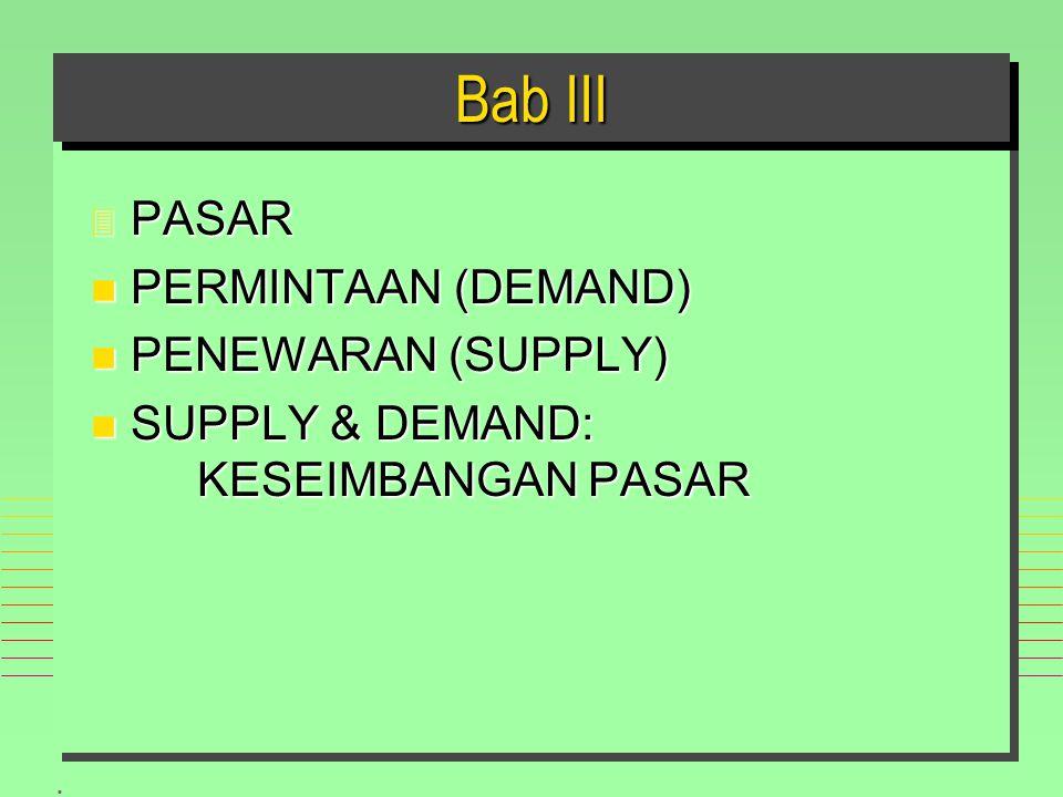 . Bab III 3 PASAR n PERMINTAAN (DEMAND) n PENEWARAN (SUPPLY) n SUPPLY & DEMAND: KESEIMBANGAN PASAR