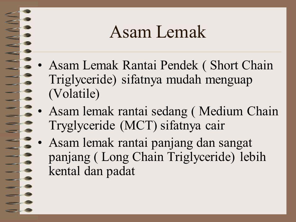 Asam Lemak Asam Lemak Rantai Pendek ( Short Chain Triglyceride) sifatnya mudah menguap (Volatile) Asam lemak rantai sedang ( Medium Chain Tryglyceride