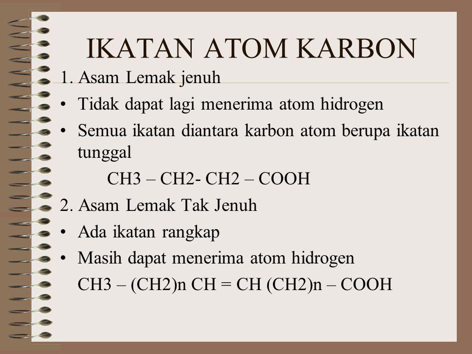IKATAN ATOM KARBON 1. Asam Lemak jenuh Tidak dapat lagi menerima atom hidrogen Semua ikatan diantara karbon atom berupa ikatan tunggal CH3 – CH2- CH2
