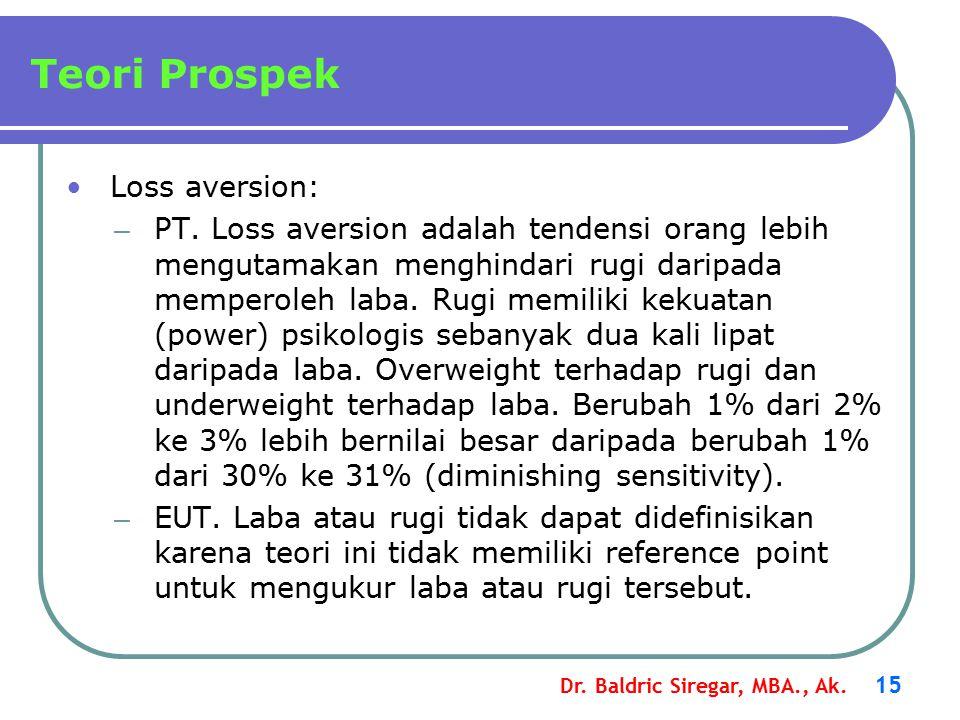 Dr.Baldric Siregar, MBA., Ak. 15 Teori Prospek Loss aversion: – PT.