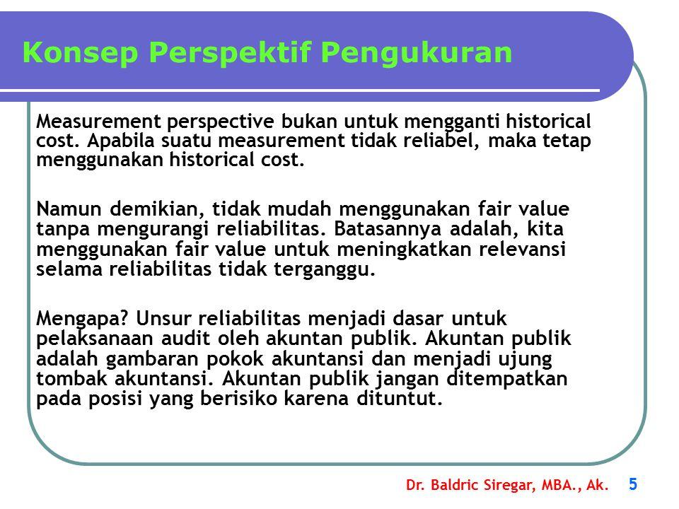 Dr.Baldric Siregar, MBA., Ak. 5 Measurement perspective bukan untuk mengganti historical cost.