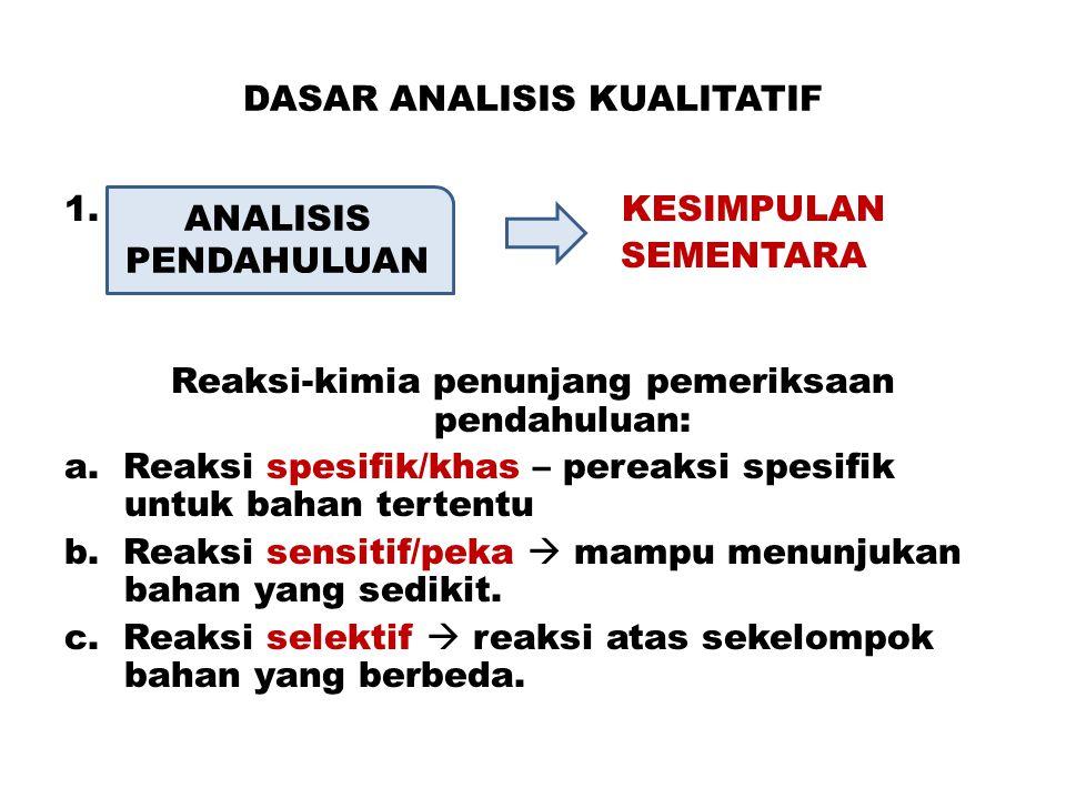 DASAR ANALISIS KUALITATIF 1. KESIMPULAN SEMENTARA Reaksi-kimia penunjang pemeriksaan pendahuluan: a. Reaksi spesifik/khas – pereaksi spesifik untuk ba