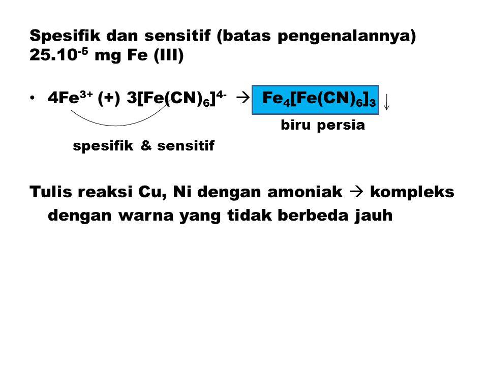 Spesifik dan sensitif (batas pengenalannya) 25.10 -5 mg Fe (III) 4Fe 3+ (+) 3[Fe(CN) 6 ] 4-  Fe 4 [Fe(CN) 6 ] 3 biru persia spesifik & sensitif Tulis reaksi Cu, Ni dengan amoniak  kompleks dengan warna yang tidak berbeda jauh