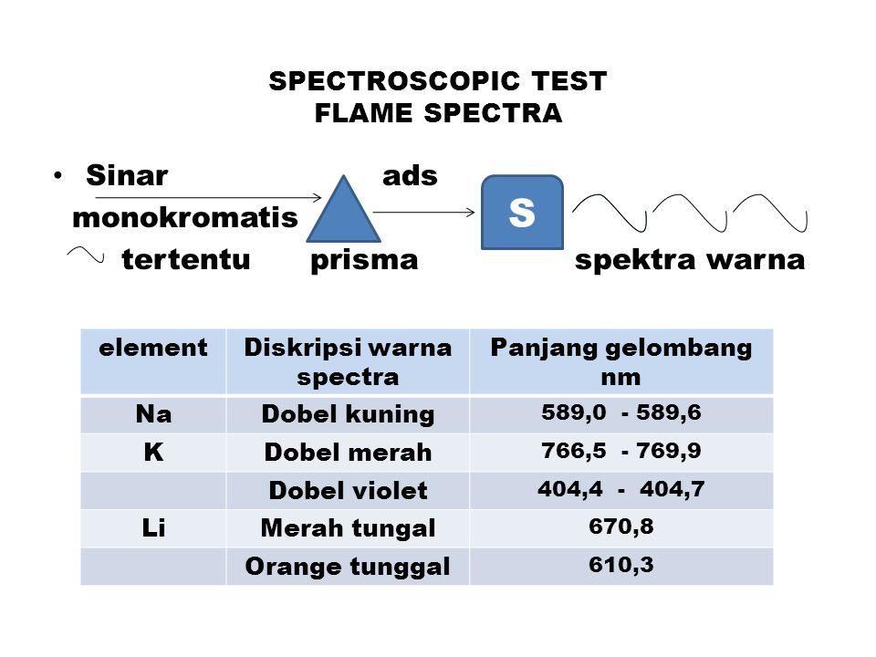 SPECTROSCOPIC TEST FLAME SPECTRA Sinar ads monokromatis tertentu prisma spektra warna S elementDiskripsi warna spectra Panjang gelombang nm NaDobel kuning 589,0 - 589,6 KDobel merah 766,5 - 769,9 Dobel violet 404,4 - 404,7 LiMerah tungal 670,8 Orange tunggal 610,3