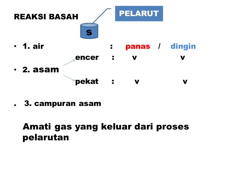 REAKSI BASAH 1. air : panas / dingin encer : v v 2. asam pekat : v v. 3. campuran asam Amati gas yang keluar dari proses pelarutan s PELARUT