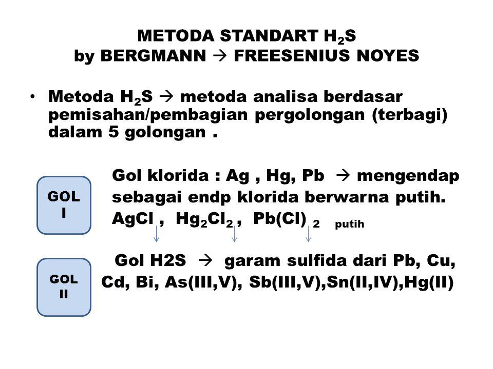 METODA STANDART H 2 S by BERGMANN  FREESENIUS NOYES Metoda H 2 S  metoda analisa berdasar pemisahan/pembagian pergolongan (terbagi) dalam 5 golongan.