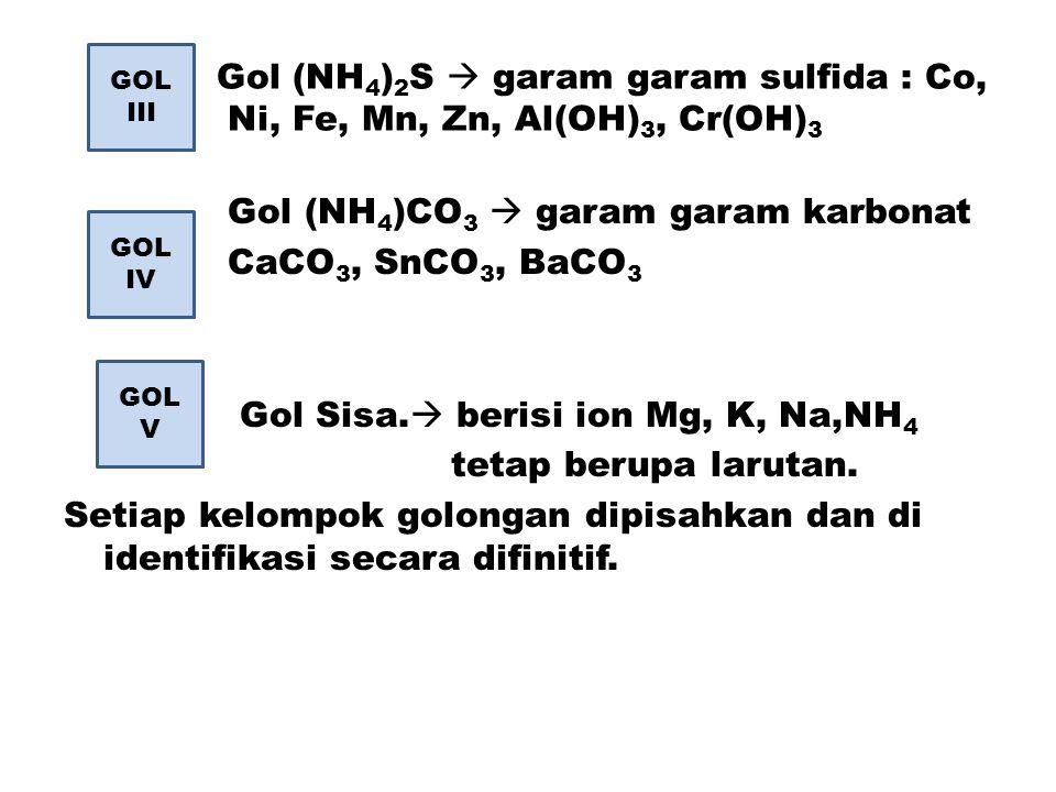 Gol (NH 4 ) 2 S  garam garam sulfida : Co, Ni, Fe, Mn, Zn, Al(OH) 3, Cr(OH) 3 Gol (NH 4 )CO 3  garam garam karbonat CaCO 3, SnCO 3, BaCO 3 Gol Sisa.