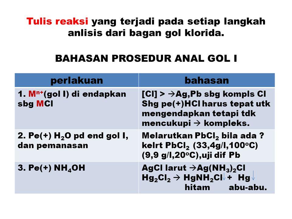 Tulis reaksi yang terjadi pada setiap langkah anlisis dari bagan gol klorida. BAHASAN PROSEDUR ANAL GOL I perlakuanbahasan 1. M n+ (gol I) di endapkan