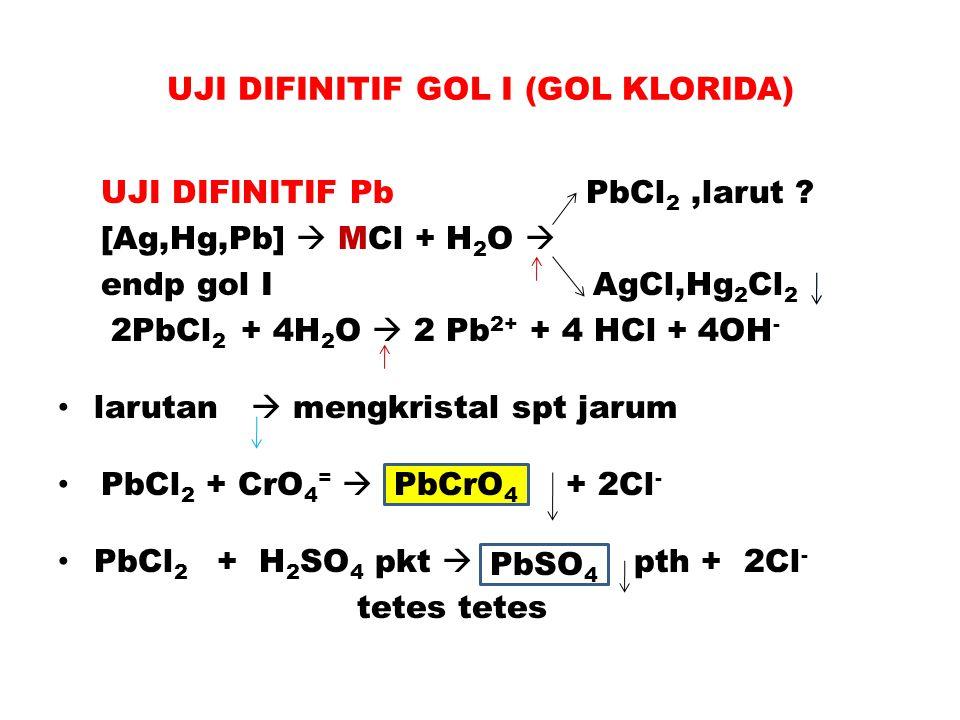 UJI DIFINITIF GOL I (GOL KLORIDA) UJI DIFINITIF Pb PbCl 2,larut ? [Ag,Hg,Pb]  MCl + H 2 O  endp gol I AgCl,Hg 2 Cl 2 2PbCl 2 + 4H 2 O  2 Pb 2+ + 4