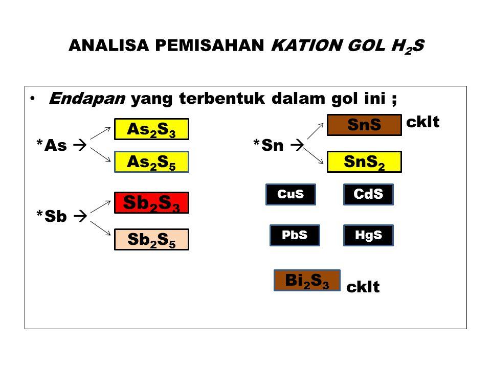 ANALISA PEMISAHAN KATION GOL H 2 S Endapan yang terbentuk dalam gol ini ; cklt *As  *Sn  CuS *Sb  cklt As 2 S 3 As 2 S 5 Sb 2 S 3 Sb 2 S 5 CuS SnS 2 SnS CdS PbSHgS Bi 2 S 3