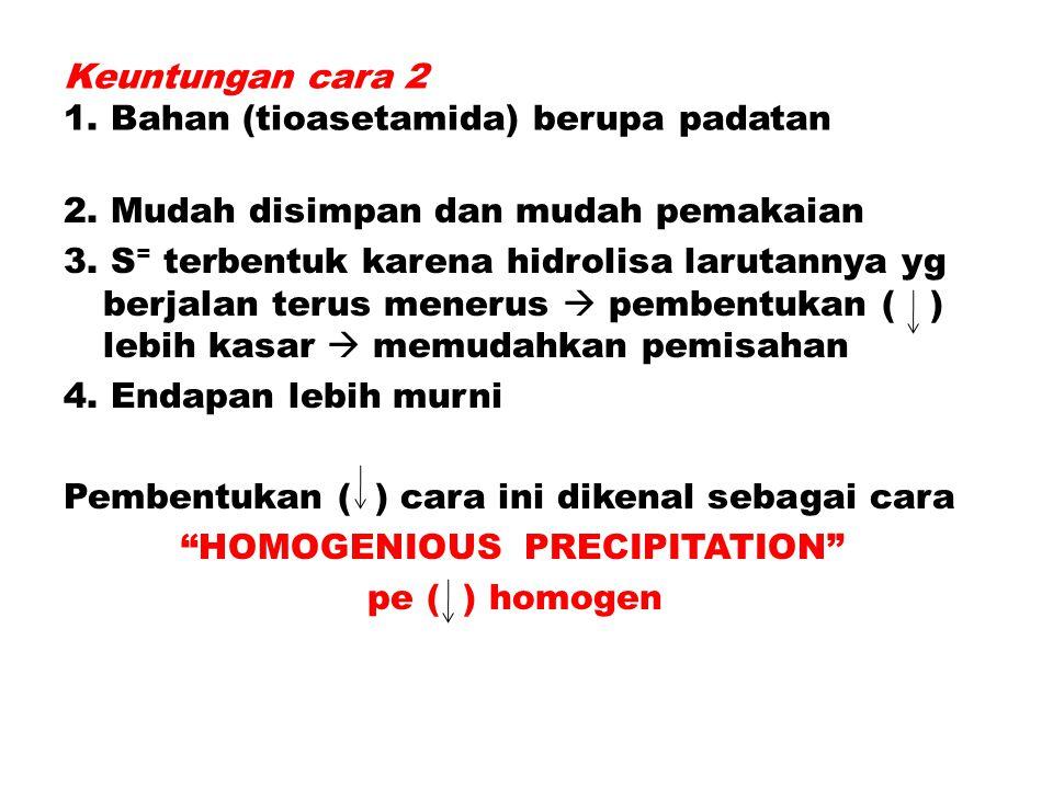 Keuntungan cara 2 1. Bahan (tioasetamida) berupa padatan 2. Mudah disimpan dan mudah pemakaian 3. S = terbentuk karena hidrolisa larutannya yg berjala