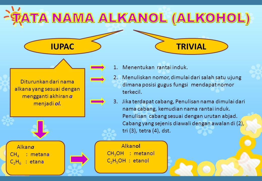 IUPACTRIVIAL Diturunkan dari nama alkana yang sesuai dengan mengganti akhiran a menjadi ol.