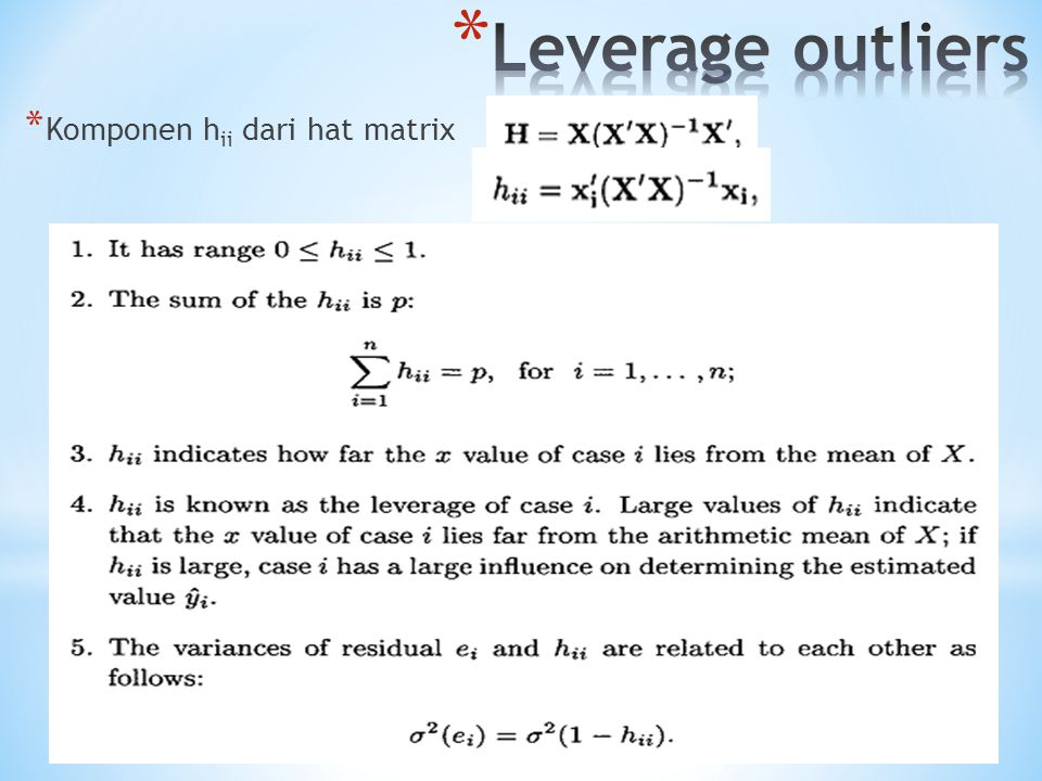 * Komponen h ii dari hat matrix
