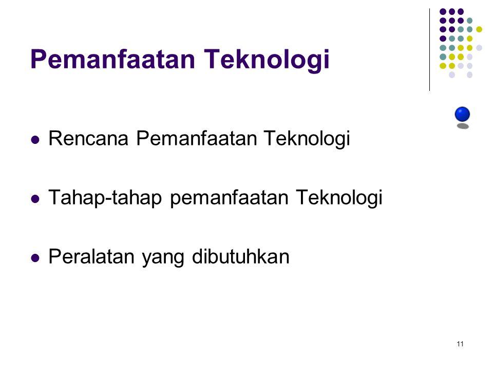 Pemanfaatan Teknologi Rencana Pemanfaatan Teknologi Tahap-tahap pemanfaatan Teknologi Peralatan yang dibutuhkan 11