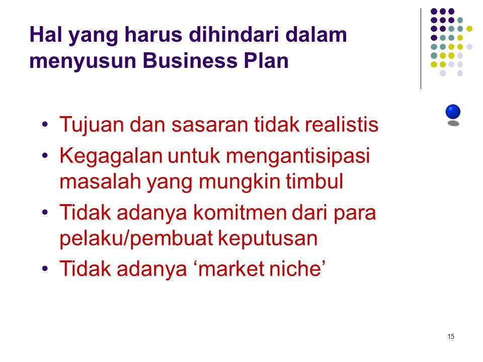 15 Hal yang harus dihindari dalam menyusun Business Plan Tujuan dan sasaran tidak realistis Kegagalan untuk mengantisipasi masalah yang mungkin timbul