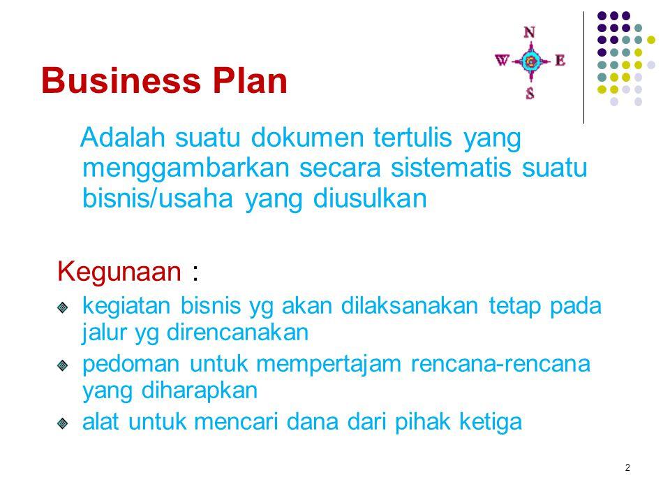 2 Business Plan Adalah suatu dokumen tertulis yang menggambarkan secara sistematis suatu bisnis/usaha yang diusulkan Kegunaan : kegiatan bisnis yg aka