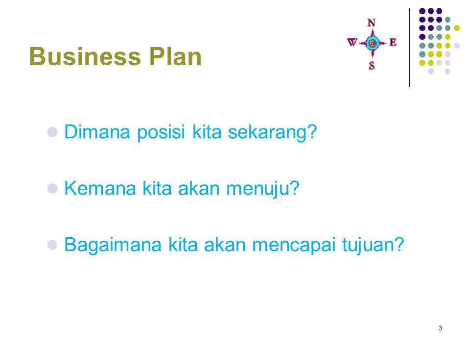 4 Format Business Plan Lembar judul Ringkasan Eksekutif Latar Belakang Perusahaan Analisis Usaha Analisa Pasar dan Pemasaran Analisis SDM Rencana Pengembangan Usaha Pemanfaatan Teknologi Analisa Keuangan Analisa dampak dan resiko usaha Lampiran : Terminologi, Data Pendukung dsb
