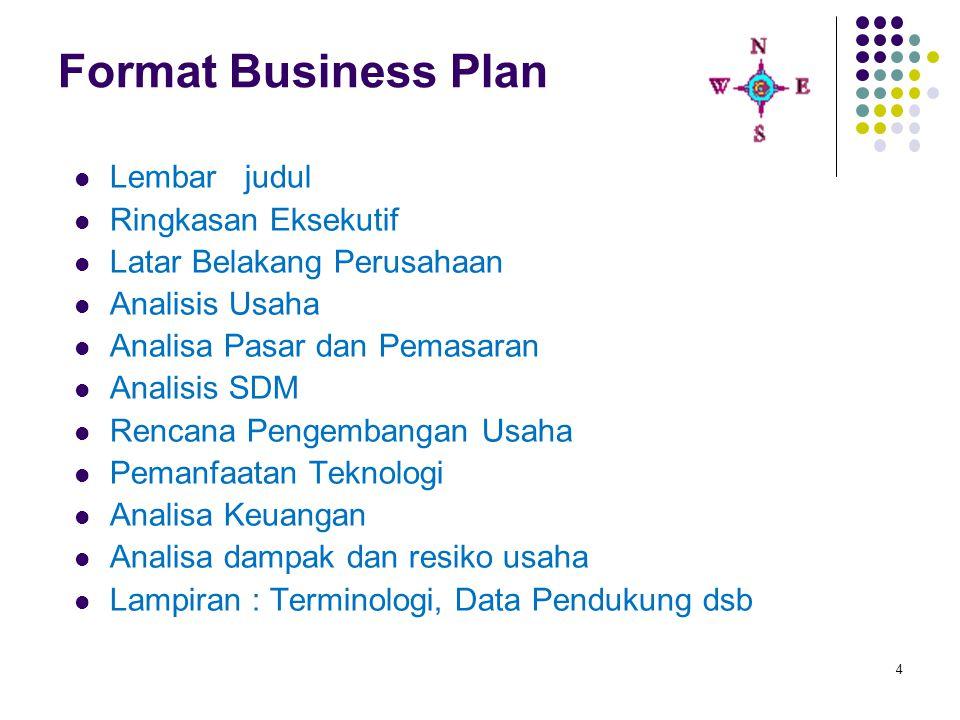 4 Format Business Plan Lembar judul Ringkasan Eksekutif Latar Belakang Perusahaan Analisis Usaha Analisa Pasar dan Pemasaran Analisis SDM Rencana Peng