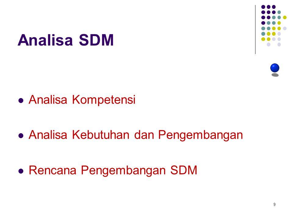 Analisa SDM Analisa Kompetensi Analisa Kebutuhan dan Pengembangan Rencana Pengembangan SDM 9