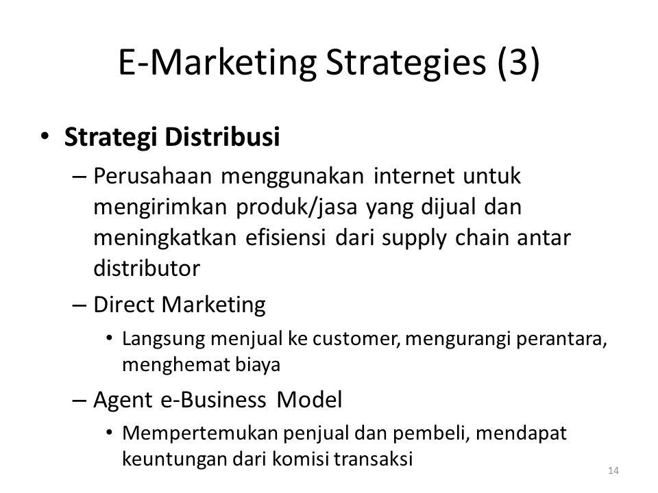 E-Marketing Strategies (3) Strategi Distribusi – Perusahaan menggunakan internet untuk mengirimkan produk/jasa yang dijual dan meningkatkan efisiensi dari supply chain antar distributor – Direct Marketing Langsung menjual ke customer, mengurangi perantara, menghemat biaya – Agent e-Business Model Mempertemukan penjual dan pembeli, mendapat keuntungan dari komisi transaksi 14