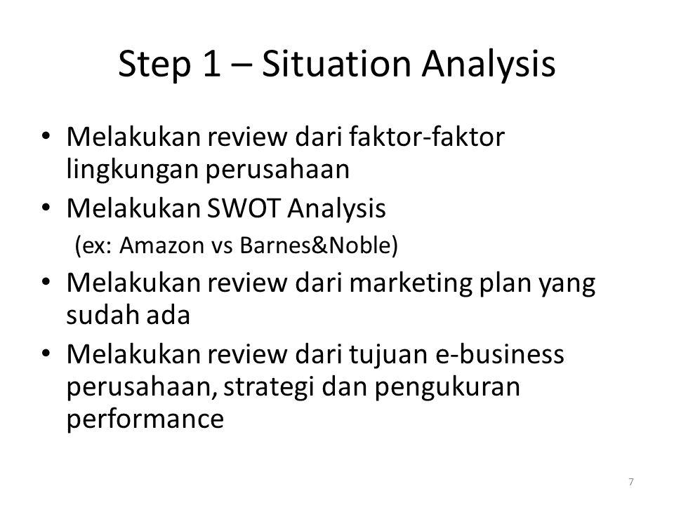 Step 1 – Situation Analysis Melakukan review dari faktor-faktor lingkungan perusahaan Melakukan SWOT Analysis (ex: Amazon vs Barnes&Noble) Melakukan review dari marketing plan yang sudah ada Melakukan review dari tujuan e-business perusahaan, strategi dan pengukuran performance 7
